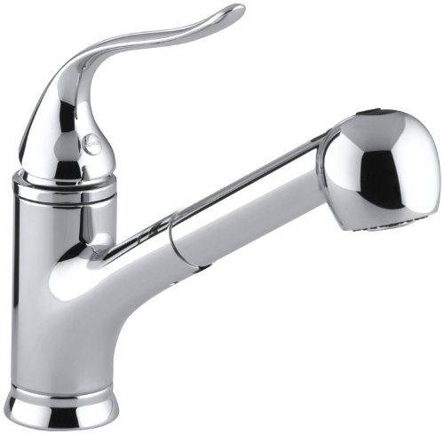 KOHLER K-15160-CP Coralais Single-Control Pullout Spray Kitchen Sink Faucet, Polished (Kohler Faucet Handles)