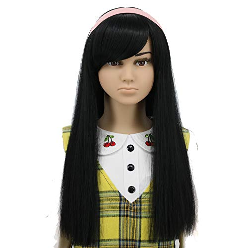 Child Pocahontas Wig - Yuehong Long Straight Black Cosplay Costume Kids Halloween Hair Wigs Synthetic Wig