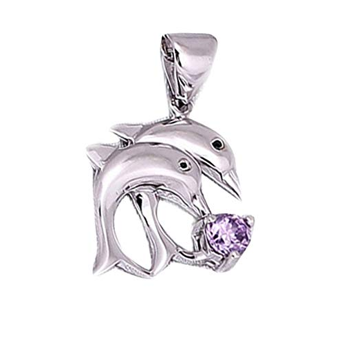- Ameesi Charms Single Pendant Faux Rhinestone Inlaid Double Dolphins Jump Women Lady Girl Jewelry Wedding Party Gift Purple