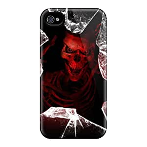 High Grade WalterCotton Flexible Tpu Case For Iphone 4/4s - Red Skeleton