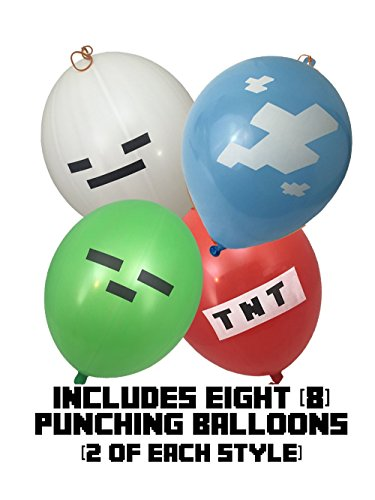 (Punch Balloons - Pixel Style Kid's 16-inch (8-Pack), Includes Zombie, Skeleton, TNT, and Pixel Clouds - Birthday Party Activities That Add Punch to Your Miner Themed Party Or Birthday Party)