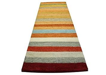 Teppich Gabbeh Läufer Handgeknüpft 80x250 Cm 100% Wolle Gelb Braun