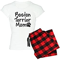 CafePress - Boston Terrier MOM Women's Light Pajamas - Womens Novelty Cotton Pajama Set, Comfortable PJ Sleepwear