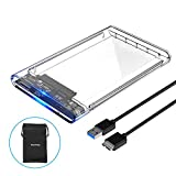 ELUTENG USB3 External Hard Drive Enclosure Clear 2.5 SATA to USB3 UASP Portable SSD Hard Drive Case Max 2T HDD Tool-Free Transparent Compatible Samsung WD Intel