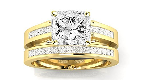 (1.2 Ctw 14K Yellow Gold GIA Certified Princess Cut Channel Set Princess Cut Bridal Set Diamond Engagement Ring Wedding Band, 0.5 Ct D-E SI1-SI2 Center)