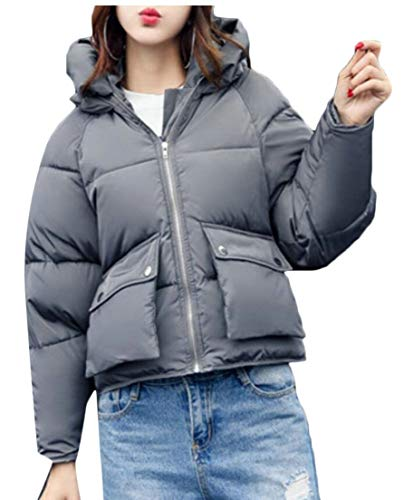 Women's Down Grey Coat Dark Bomber Camo Puffer Cropped EKU Hooded BOAdwTq