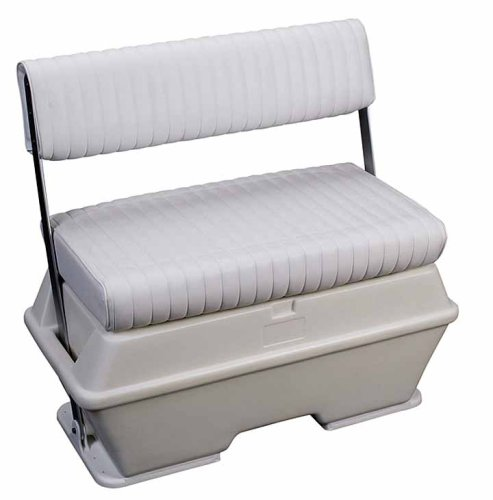 "Moeller Deluxe Permanent Mount Swing Back Cooler or Livewell Boat Seat (72-Quart, 37"" x 18.5"" x 34.5"") Capacity, White"