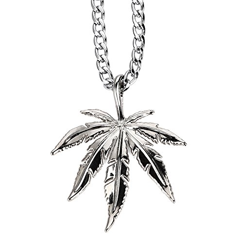 "Tidoo Jewelry ""IN MARIJUANA WE TRUST"" Men's Weed Leaf Pendant Necklace 18k Real Gold/Silver Plated 30""-Unique Valentine's Day Present Ideas for Men&Boy(SILVER)"