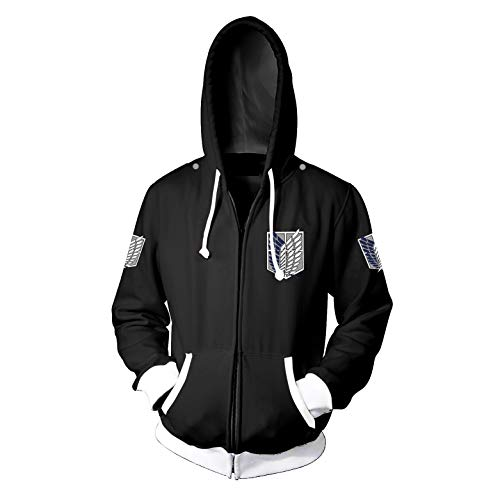 mucloth 3D Printing AOT Survey Corps Recon Corps Wings of Freedom Zip up Hoodie Sweatshirt Cosplay Costume Unisex (Large, - Wings Freedom
