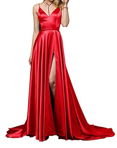 Abendkleider Damen Lang Charmant Promkleider V Ausschnitt Festlichkleider Traeger Ballkleider Spaghetti Rot wXw6Tq7x