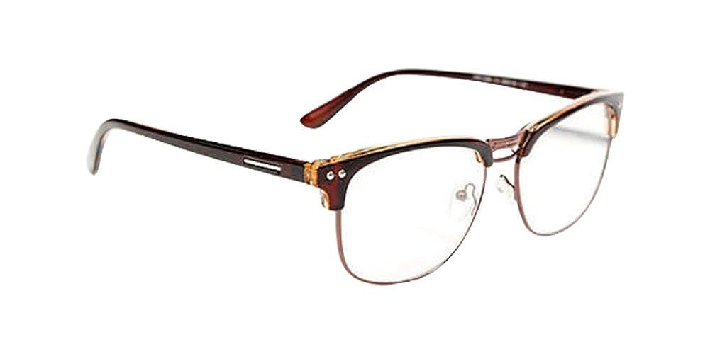 01b3c393f84 Amazon.com  Brown Fashion Hipster Vintage Retro Semi-Rimless Glasses Clear  Lens Nerd Geek Eyeglass  Clothing