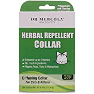 """Dr Mercola Herbal Repellent Collar For Cats & Kittens with Natural Active Ingredients, Long-lasting Flea Prevention - Odorless, Safe & Waterproof Flea Collars Effective Up To 4 Months, Necks up to 12"""""""