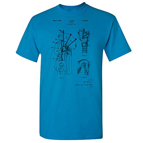 Patent Earth Bagpipe T-Shirt, Musician Gift, Celtic Music, Scottish Instruments, Band Leader, Folk Songs, Concert Player Sapphire (XL)