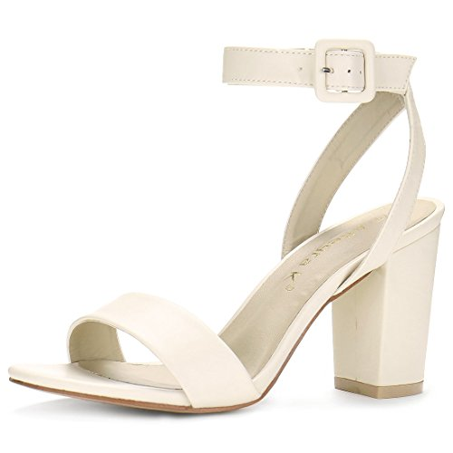 Allegra K Women's Open Toe Chunky Heel Ankle Strap Sandals (Size US 11) Nude