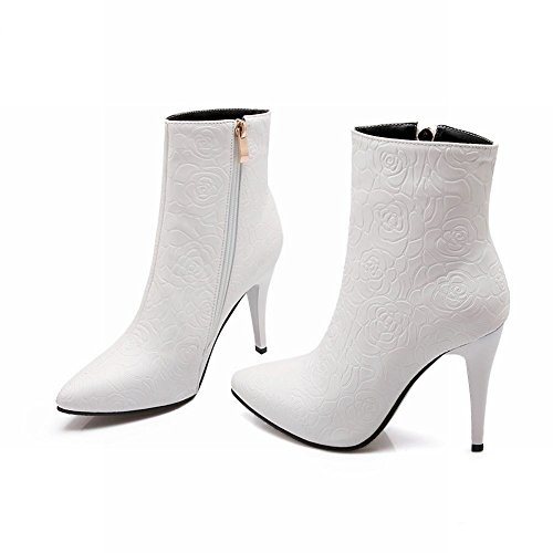 Latasa Womens Fashion (Size 4.5-14) Floral Side Zipper Pointed-toe Stiletto High Heel Short Dress Boots White AtNoWp