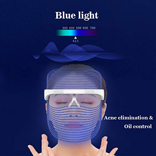 Light Therapy Face Mask, 3 colors LED Light Therapy Facial Mask Photon Skin Rejuvenation Phototherapy Facial Skin Treatment for Facial Rejuvenation, Wrinkles Reduction, Anti-Aging