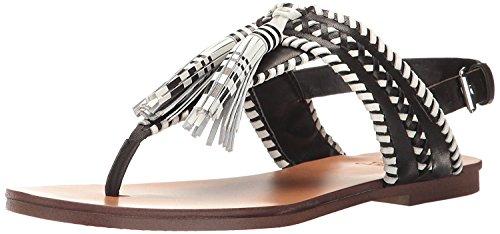 Vince Camuto Women's Rebeka Flat Sandal, Black/Picket, 7.5 M (Detail Slingback Sandals)