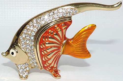 Jewel Encrusted Gold Angelfish Trinket Box