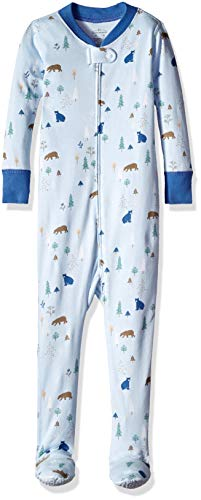 Moon and Back Organic One-Piece Footed Pajamas, Bear Print, 4T