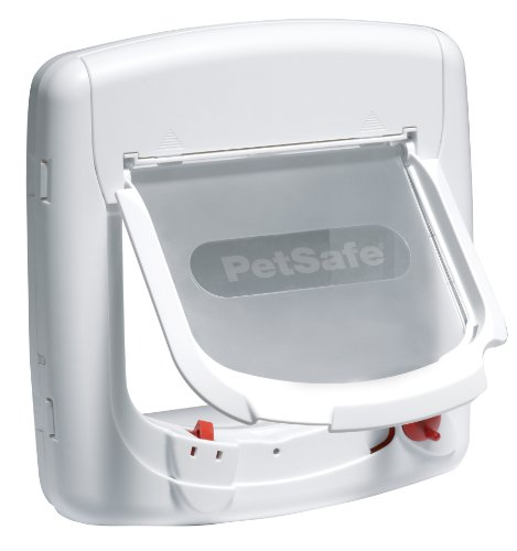 Petsafe Staywell, Deluxe Magnetic 4 Way Locking Cat Flap, White, Selective (Magnetic Pet Collar)