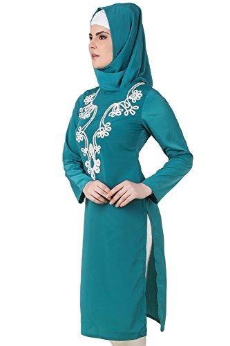 MyBatua Bottle Green Crepe Túnica de Vestimenta Formal Islámica para Mujeres KRF-126