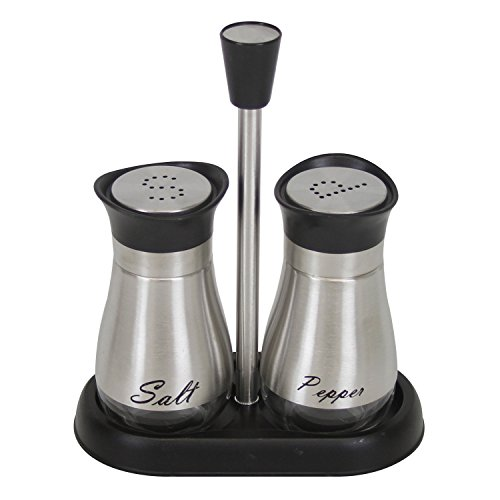 Evelyne GMT-10406 Stainless Steel Glass Bottom Casing Salt and Pepper Shakers Set with Tray and Letter Initial by Evelyne