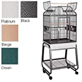 HQ's Opening Scroll Parrot Cage with Cart Stand, Small, Platinum, 1 Per Box, My Pet Supplies