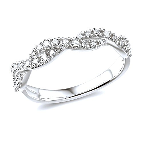 (Diamond Wedding Anniversary Band in 10k White Gold-Size 6)