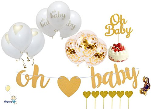 Baby Shower Decorations Gold Banner [Oh Baby] Confetti, Gold, White Balloons with Ribbon Neutral Decor Party Supplies Gender Reveal Pregnancy Announcement with Extra 7 pc Cake Topper.