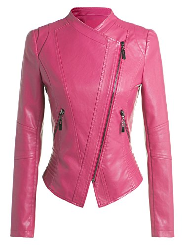 Women Slim Trendy Faux Leather Zip-Up Power Shoulder Bomber Moto Jacket Hot Pink