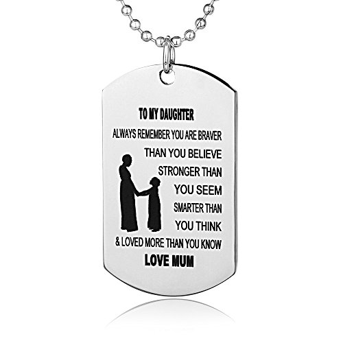 FAYERXL Always Remember You Are Braver Than You Believe Jewelry Pendant Necklace Inspirational Gifts (Mum to -