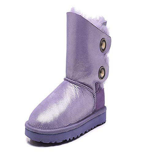 - Women's Genuine Sheepskin Leather Snow Boots Natural Fur Girls Snow Boots Warm Wool Winter Boots Purple