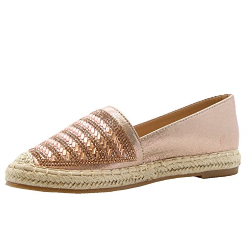 Rock Espadrillas Flat D Casual Slip Women Ladies Studs On Sandali xnIARB1q