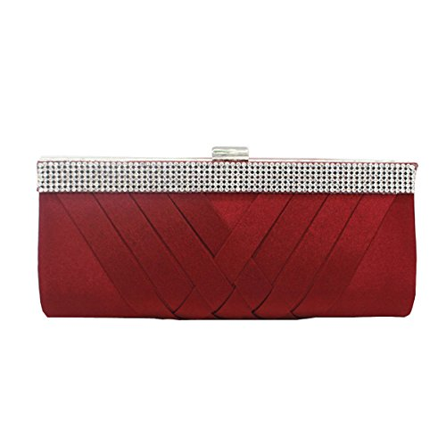 Rhinestone Multicolor Purse Bag Bag Bag Elegant Women Wedding Woven Shoulder Frosted Red2 Handbag Evening Clutch nOxFE