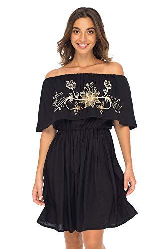 Back From Bali Womens Off Shoulder Boho Embroidered Dress Short Ruffle Beach Sundress Black L/XL