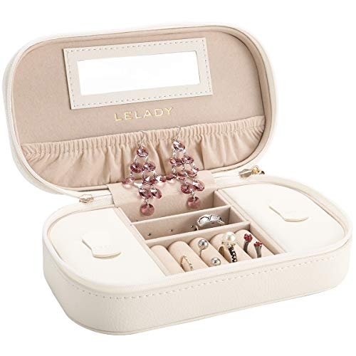 JL LELADY JEWELRY Small Jewelry Box Organizer Travel Jewelry Boxes Case Portable PU Leather Jewelry Boxes Storage Case with Mirror for Women Girls (White)