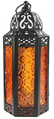 Amber Glass Moroccan Style Candle Lantern - Great for Patio, Indoors/Outdoors, Events, Parties and Weddings ()