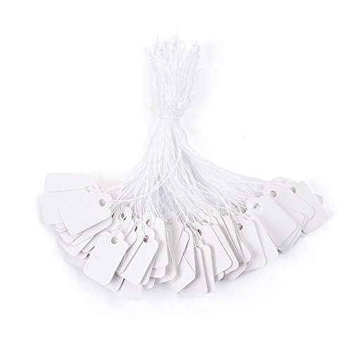 - Beadthoven 500pcs Jewelry Price Tags White Rectangle Item Price Label with String Price Paper Display for Jewelry Goods Clothing Tags 7/8''x1/2''(23x13mm)