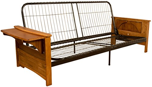 Valet Attached End Table Style Frame Futon Sofa Sleeper Bed Frame, Queen-size, Medium Oak Arm Finish