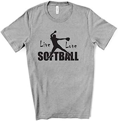 Live Love Softball T Shirt   Black Text   Unisex Tshirt Premium