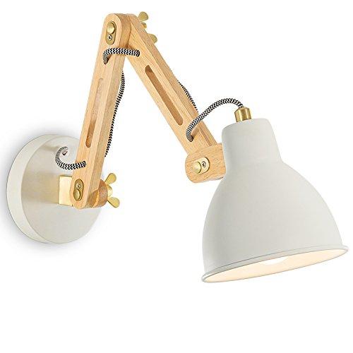 Lampada da parete Comodino Lampada da Lettura Bianco Blu massello di Legno telescopico Bilanciere per Bambini Camera per Bambini Scale Camera da Letto Cucina Cucina Stile Nordico (colore   Bianca)