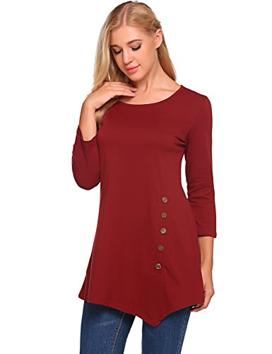 Sleeve Sleeve Tunic Long 3/4 (BLUETIME Womens Scoop Neck Loose Blouse 3/4 Sleeve Asymmetrical Button Design Tunic Tops (XXL, Wine Red))