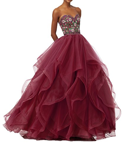 Organza Prom Women's Beaded Burgundy Dresses DKBridal Gowns Ball Long Embroidery Formal Quinceanera dT8wx6Xq