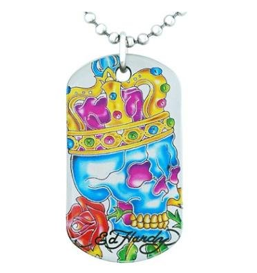 Skull Pendent Ed Hardy Dogtag with Crown Pendent Charm Chain Neckless (Ed Hardy Dog Tag)
