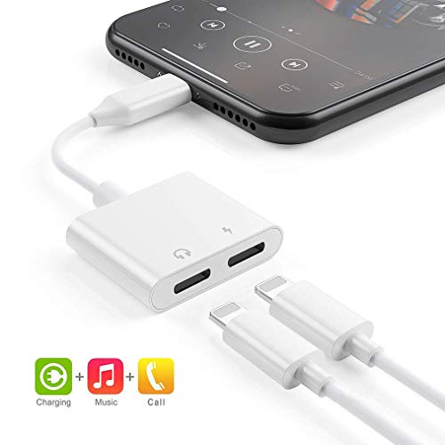 Headphone Adapter for iPhone Splitter 2 in 1 Earphone Jack Aux Audio Charger, Double Dongle Adapter Cable for iPhone 7/7 Plus/8/8 Plus/X/Xs Headset Music&car Charger&Remote&Call Support 10.3 or Later