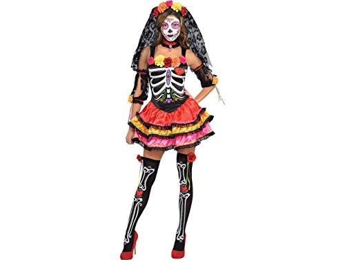 AMSCAN Day of the Dead Senorita Halloween Costume for Women, Large, with Included Accessories -