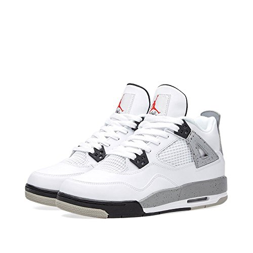 nike air jordan 4 retro OG BG hi top trainers 836016 sneakers shoes (6Y , white fire red black tech grey 192) by NIKE