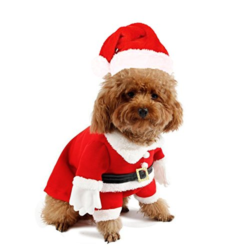 (Delifur Cat Christmas Costumes with Hat Dog Santa Costume Dog Xmas Costume for Small Dog Cat Puppy)