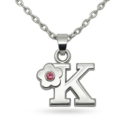 Pink Crystal Flower Letter Initial Alphabet K Fashion Pendant Necklace (Jewelry Initial Necklace)