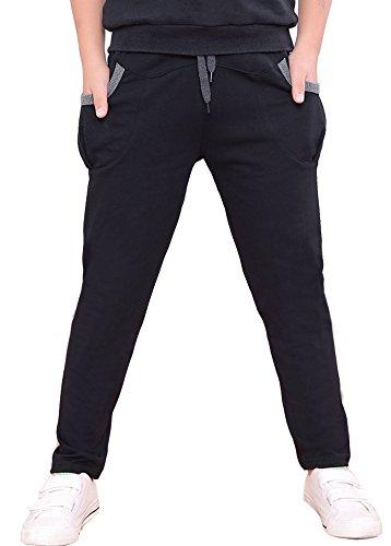 Dasnh Boys Cotton Sweatpants Adjustable Waist Jogger Pants with Two Big Pockets